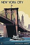 New York City, New York - Brooklyn Bridge (9x12 Art Print, Wall Decor Travel Poster)