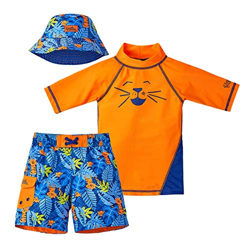 UV SKINZ UPF 50+ Boys 3-Piece Swim Set (3T, Orange Jungle -