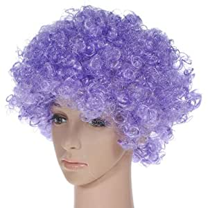 Party Disco Rainbow Afro Clown Hair Football Fan Adult Child Costume Curly Wig Purple