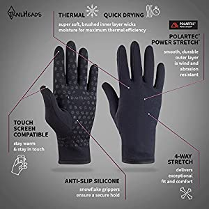 TrailHeads Women's Power Stretch Running Gloves (solid black, medium)