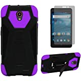 Phone Case for Consumer Cellular ZTE Avid 828 Hybrid Cover Case with Kickstand + Screen Protector (Purple)