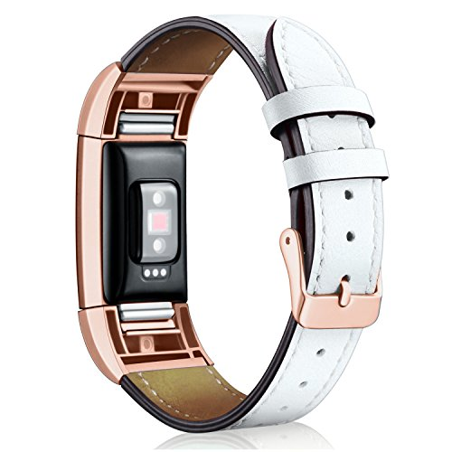 Hotodeal Band Compatible Fitbit Charge 2 Replacement Bands, Classic Genuine Leather Wristband Metal Connectors, Fitness Strap Women Men Small Large White & Rosegold -