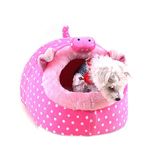 Cute Tent Style Pet Dog Cat Warm House Puppy Dog Ger Dog Kennel Sleeping Bag Small Dog Bed Nest Cave Bed Washable Puppy Cat Warm House/ Bed/ Mat Soft Pink Pig (Medium) Review