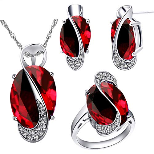 Uloveido Fashion White Gold Plated Large Oval Red Cubic Zirconia Necklace Post Stud Earrings Solitaire Finger Rings Bridal Jewelry Set (Red, Size 7) T472