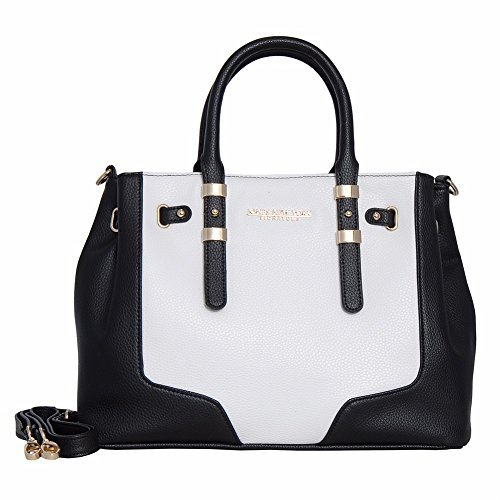 Jones New York Signature Diana Satchel Double Handle Bag (Black/White)