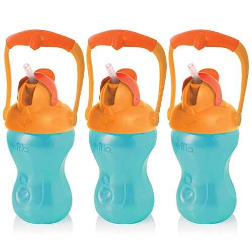 Evenflo Feeding Advanced Swing 3 pack Handled Straw Cups, Blue/Orange