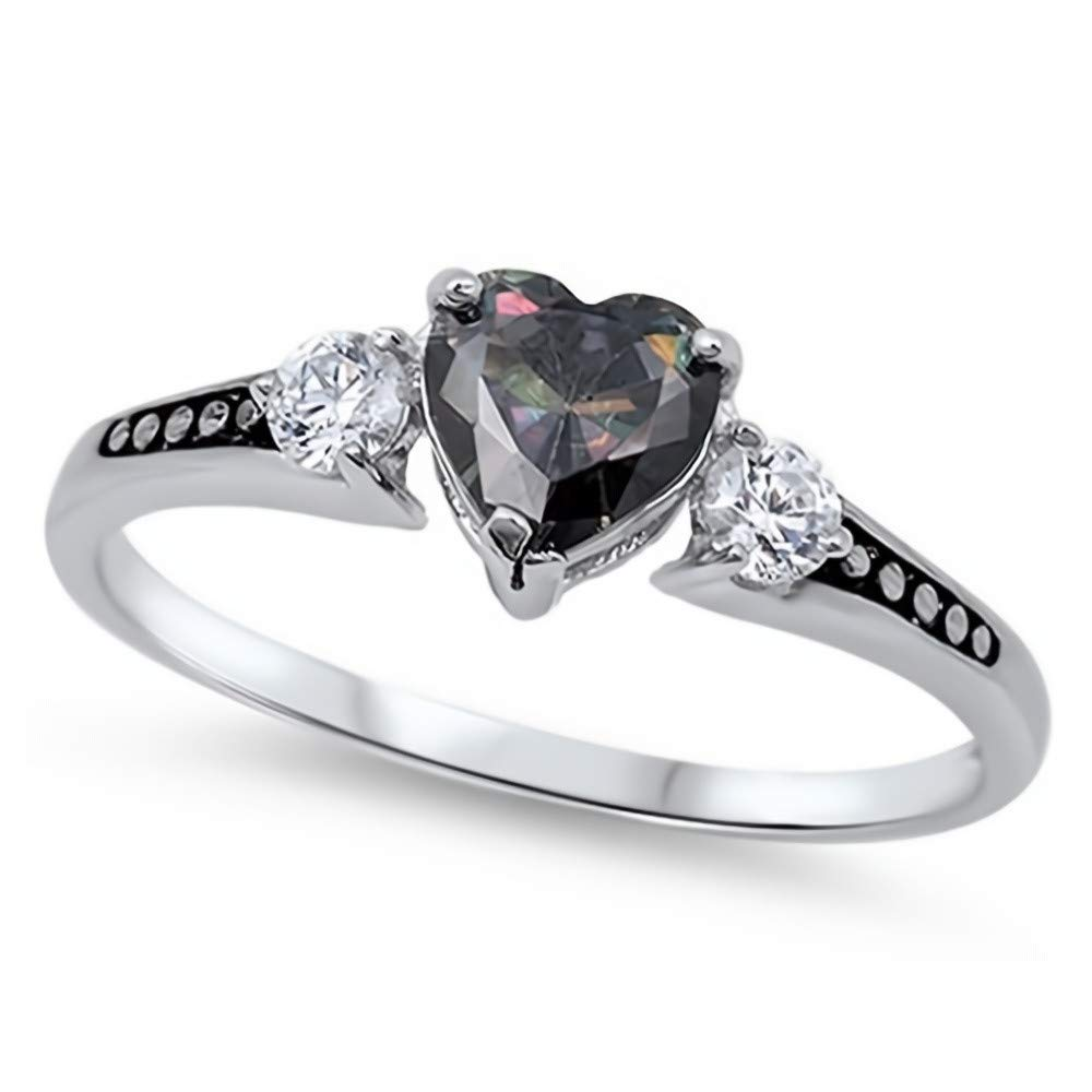 Ring Genuine Sterling Silver 925 Rainbow Topaz Clear CZ Face Height 6 mm Size 9
