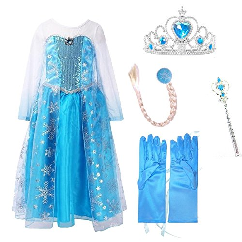 URAQT Snow Queen Girls' Party Tutu Dress Sleeveless Snow Princess Dress Blue