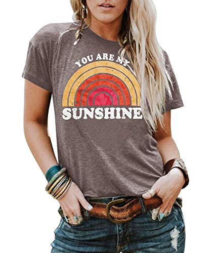 Best Work Graphic Tee - Kaislandy Womens You are My Sunshine T Shirt Short Sleeve Printed Graphic Tees Casual Summer O Neck Tops Shirts Brown