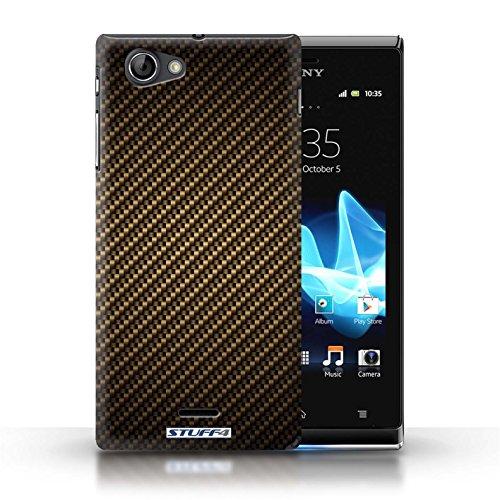 Etui / Coque pour Sony Xperia J (ST26i) / Or conception / Collection de Motif de Fibre de Carbone