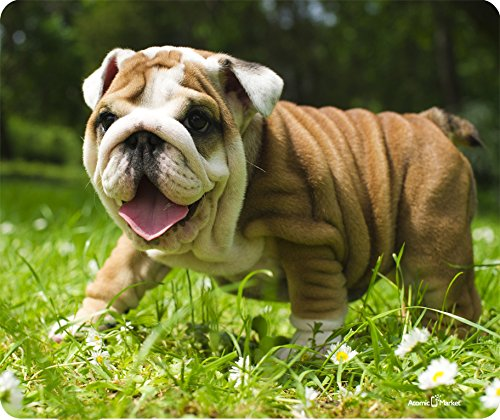 Happy English Bulldog Puppy Thick Mousepad by Atomic Market