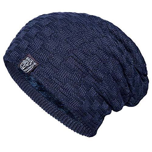 (YSense Mens Winter Warm Slouchy Long Oversized Beanie Baggy Hat Fleece Lined Knit Skull Cap Navy)