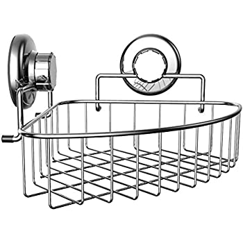 HASKO Accessories   Corner Shower Caddy With Suction Cup   Stainless Steel  Basket For Bathroom Storage