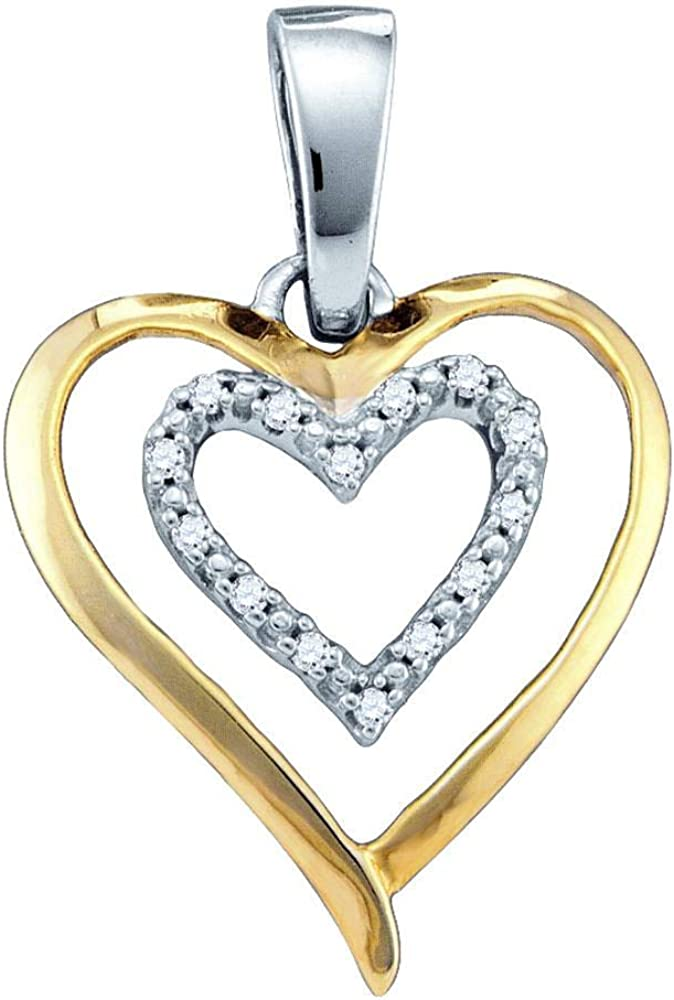 Sterling Silver Two-tone Womens Round Diamond Double Heart Pendant 1//20 Cttw