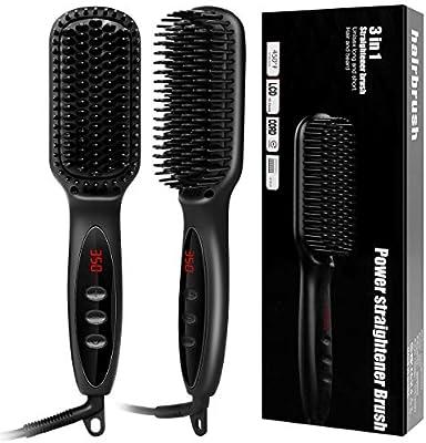 Ruiqas Cepillo alisador de pelo, cepillo alisador de barba eléctrico de cerámica para alisar el cabello: Amazon.es: Salud y cuidado personal