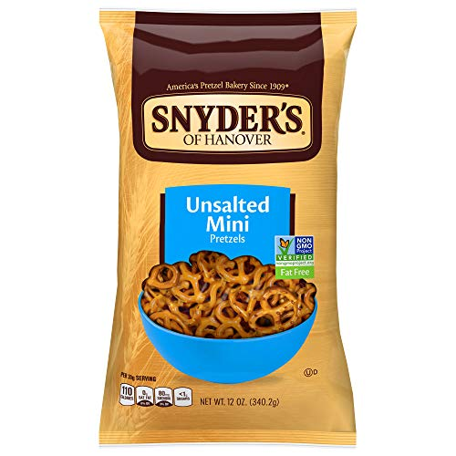 Snyder's of Hanover Pretzels, Unsalted Mini, 12 Ounce (Pack of 12)