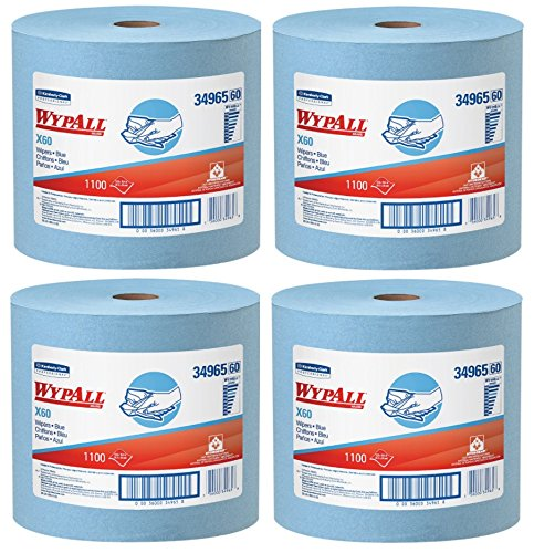 WypAll 34965 X60 Wipers, Jumbo Roll, 12 1/2 x 13 2/5, Blue, 1100 Sheets Per Roll, 4 Roll by Kimberly-Clark Professional