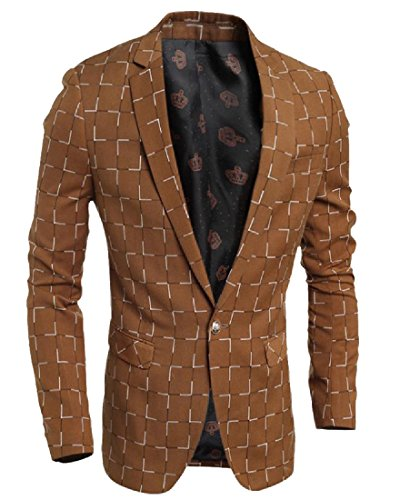 SummerMen Summer Mens Printed Plaid Solid 1 Button Business Blazer Coat Dress Suit supplier