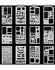 SEALEN Bullet Journal Stencil Plastic Planner Stencils 12 PCS Journal Notebook Diary Scrapbook DIY Drawing Template Stencil 4.2 x 7 Inch