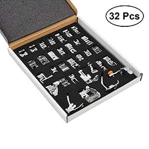ULTNICE Juego de prensatelas para máquina de Coser Singer Brother Baby Lock Pfaff Janome Elna 32 Unidades: Amazon.es: Deportes y aire libre