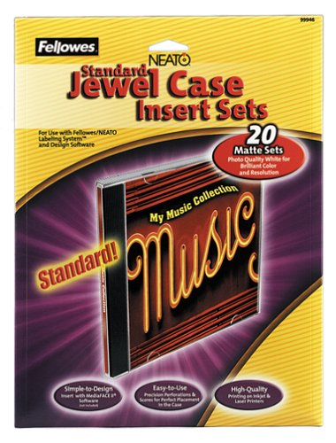 Fellowes 99946 Standard Jewel Case Inserts, Laser/Ink Jet Printer, Matte Finish, (Jewel Case Inserts Pack)