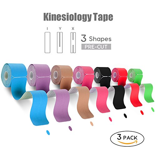 """FriCARE Elastic Cotton Kinesiology Tape, 3 Rolls, X Y I Shape, 20 Precut 10"""" Strips, Therapeutic Athletic Tape for Injury Recovery, Muscle Support, Waterproof, Adhesive, FDA Approved, Free E-Guide"""