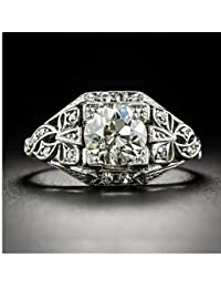 GOWE Round 1.5 Carat Moissanites 14k White Gold Antique Filigree Art Deco Engagement Ring Lab Grown Diamond Wedding Ring