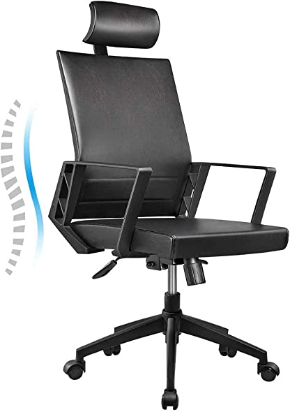 Office Chair High Back Leather Executive Computer Desk Chair, Adjustable Tilt Angle Headrest Lumbar Support Ergonomic Swivel Chair Black