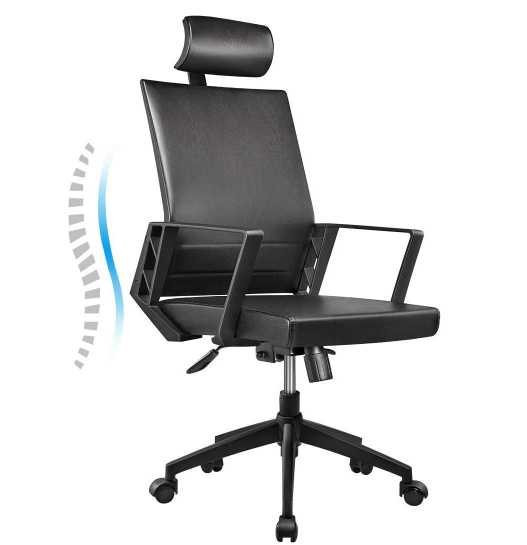 Office Chair High Back Leather Executive Computer Desk Chair, Adjustable Tilt Angle Headrest Lumbar Support Ergonomic Swivel Chair (Black) by YOUNBO