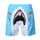 Winsummer Mens Shark Printed Board Shorts Cool Quick Dry Beachwear Swim Shorts Hawaiian Swim Trunks with Mesh Lining (Blue,3XL)