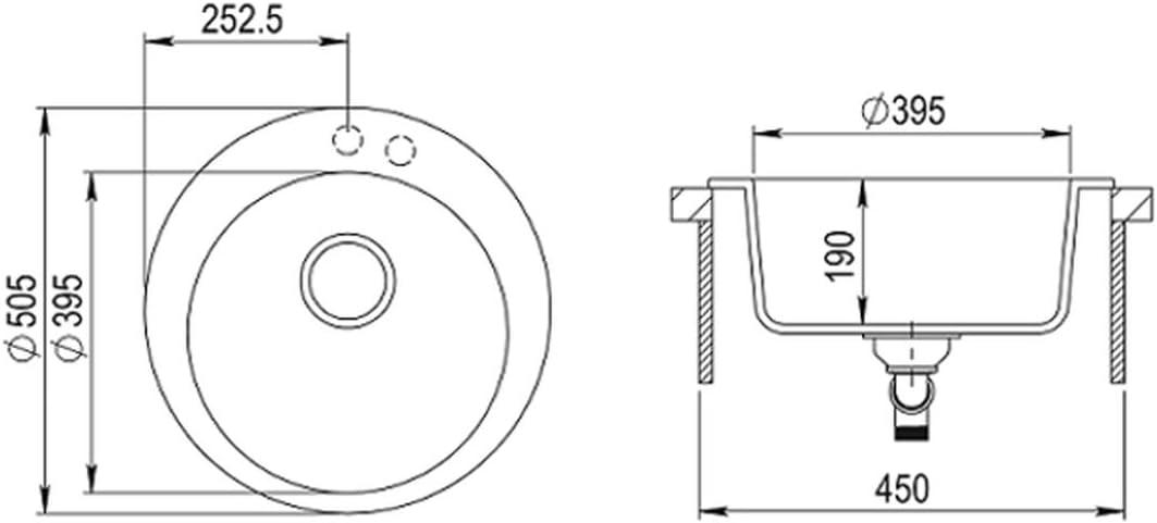 girevole a 360/° reversibile 50 cm con sifone e miscelatore a forma di U Sanitop-Wingenroth Lavello da incasso in granito