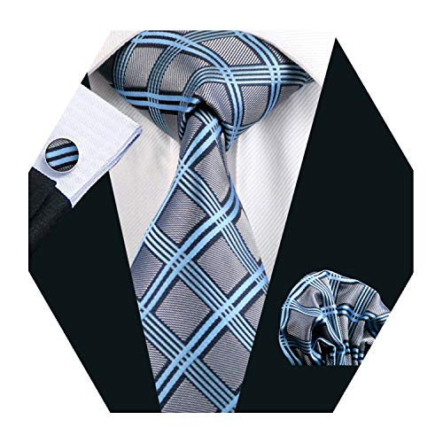 Grey Plaid Check Tie Set Mens Formal Silk Necktie with Hanky and Cufflinks