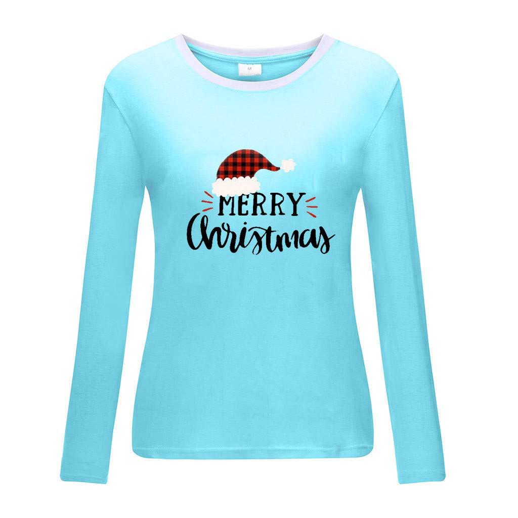 Sweatshirt Femme Imprimé,Solike Pullover Blouse Sweaters Noël Grande Taille Christmas Top Tricoté Manches Longues Bleu-3