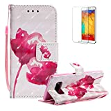 Funyye Strap Magnetic Flip Case for Samsung Galaxy Note 8,Elegant 3D Red Rose Fantasy Painted Design Folio Wallet Pocket with Stand Credit Card Holder Slots Soft Silicone PU Leather Case for Samsung Galaxy Note 8,Full Body Shockproof Non Slip Smart Durable Shell Protective Case for Samsung Galaxy Note 8 + 1 x Free Screen Protector