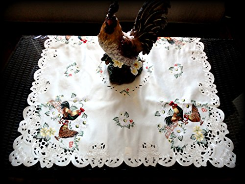(Embroidered Rooster Table Topper 43