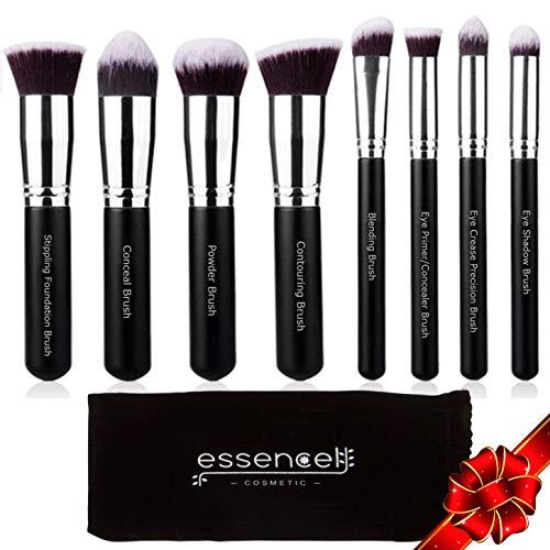 keup Brushes Professional Kabuki Makeup Brush Set - Foundation,Powder, Blending Blush Bronzer, Concealer Contour, Eye Shadow Brush Kit (8PCs, Black Sliver) ()