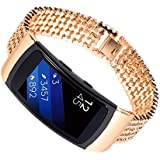 Multicolor Stainless Steel Bracelet Smart Watch Band,Ninasill Strap For Samsung Gear Fit2 SM-R360 Watch Strap (Gold)