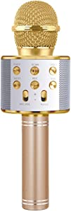 LITTLEFUN Wireless Bluetooth Microphone for Kids, Birthday Gift for Girl Kids Age 5-13 Year Old Girls Boys Karaoke Microphone for iPhone Android Home Party Gift Toy Age 4-12 Girl Gold Mic