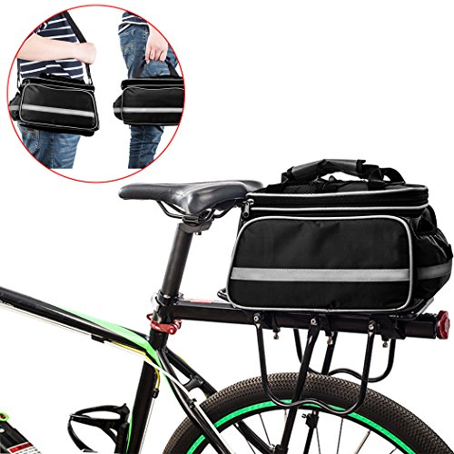 FLYDEER Bicycle Bag Outdoor Waterproof Bike Rack Bag Bike Pannier Large Capacity Bike Bag with Rainproof Cover & Reflective Trim