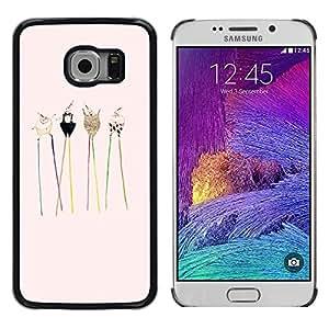TopCaseStore / la caja del caucho duro de la cubierta de protección de la piel - Animals Drawing Cute Sweet - Samsung Galaxy S6 EDGE SM-G925