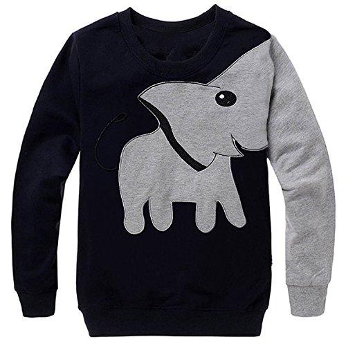 Little Boys Sport Sweatshirt Toddler Super Cute Elephant Cartoon T Shirt Pullover 100% Cotton Black 7T
