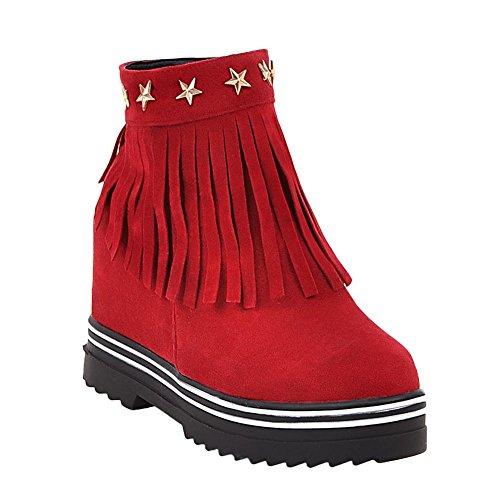 Mee Shoes Damen hidden heels Quaste Nubuklder Stiefel Rot