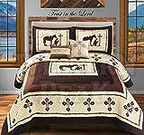 Western Peak 5 Pc Western Texas Cross Lodge Barbed Wire Quilt Bedspread Shams Pillow Oversize Comforter (Beige Praying Cowboy, King)