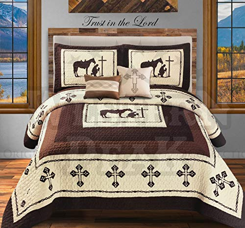 Western Peak 5 Pc Western Texas Cross Lodge Barbed Wire Quilt Bedspread Shams Pillow Oversize Comforter (Beige Praying Cowboy, King)