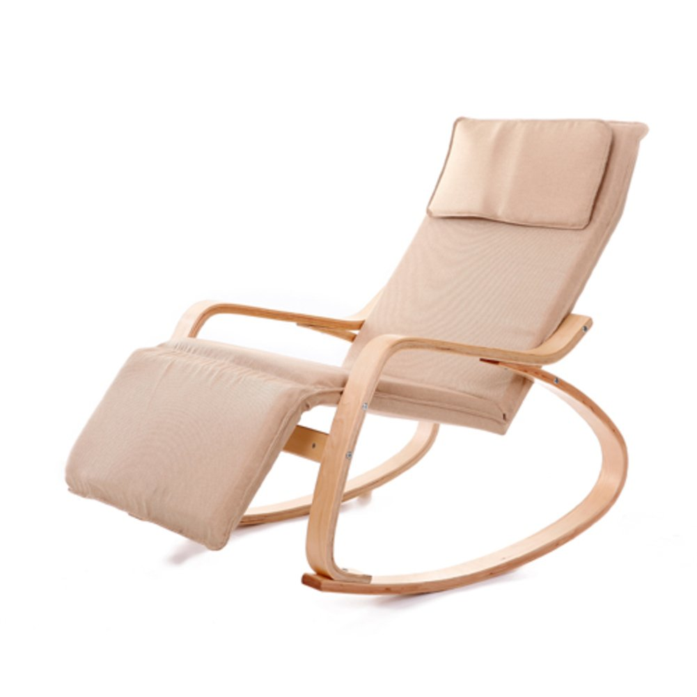 Be&xn Massivem Holz schaukelstuhl, Outdoor Liegestühle Lounge-Sessel Nap Stuhl Klappstuhl-Khaki W52xH87cm(20x34inch)