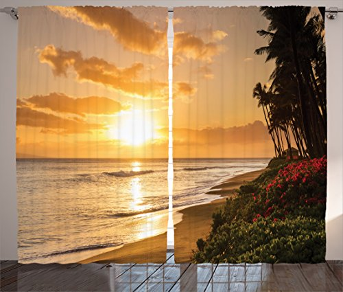Ambesonne Hawaiian Curtains, Warm Tropical Sunset on Sands of Kaanapali Beach in Maui Hawaii Traveling, Living Room Bedroom Window Drapes 2 Panel Set, 108 W X 84 L Inches, Cream Ivory