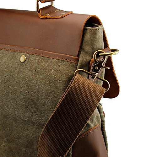 52986c1ec747 GEARONIC TM Men s Vintage Canvas Leather Satchel School Military Messenger  Shoulder Bag Travel Bag for Notebook ...