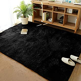 Soft Modern Shaggy Fur Area Rug for Bedroom Livingroom Decorative Floor Carpet, Non-slip Large Plush Fluffy Comfy Warm Furry Fur Rugs for Boys Girls Nursery Accent Rugs 5x8 Feet, Black