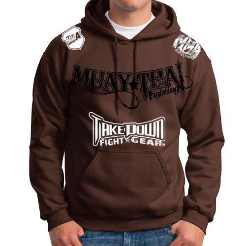 Brown Custom Hooded Sweatshirt (Muay Thai Fighting Jiu Jitsu Stryker Fight Gear Hoodie Jacket Jumper MMA UFC W * (XL, Brown))
