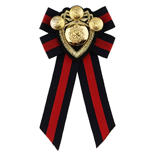 - Homyl Pre-tied Bowknot Brooch Fabric Bow Tie Nautical Themed Men Wome British School Girls Badge Pin Clip - Red Stripe